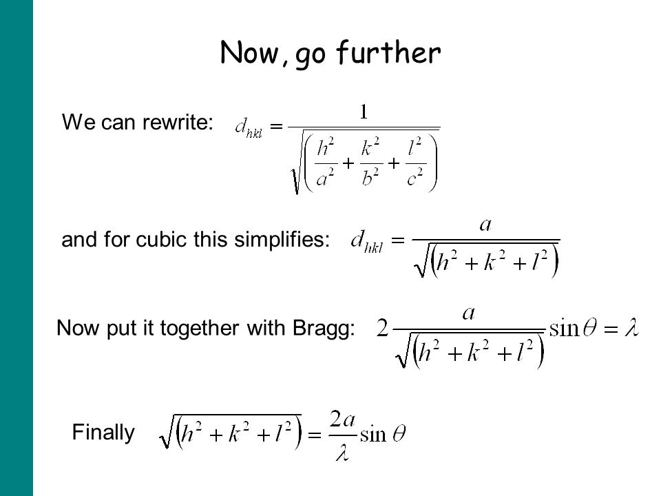 Now, go further We can rewrite: and for cubic this simplifies: Now put it together with Bragg: Finally