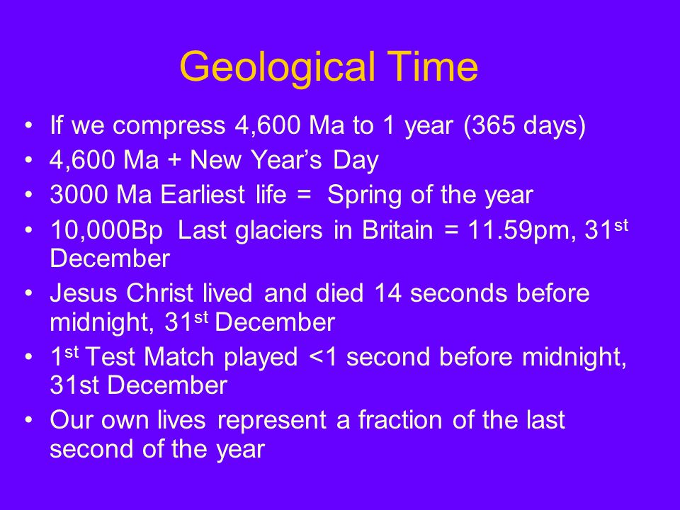 Geological Time If we compress 4,600 Ma to 1 year (365 days) 4,600 Ma + New Years Day 3000 Ma Earliest life = Spring of the year 10,000Bp Last glaciers in Britain = 11.59pm, 31 st December Jesus Christ lived and died 14 seconds before midnight, 31 st December 1 st Test Match played <1 second before midnight, 31st December Our own lives represent a fraction of the last second of the year