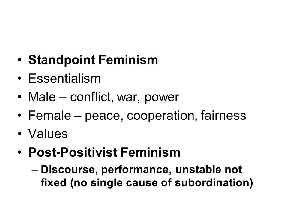 Standpoint Feminism Essentialism Male – conflict, war, power Female – peace, cooperation, fairness Values Post-Positivist Feminism –Discourse, perform