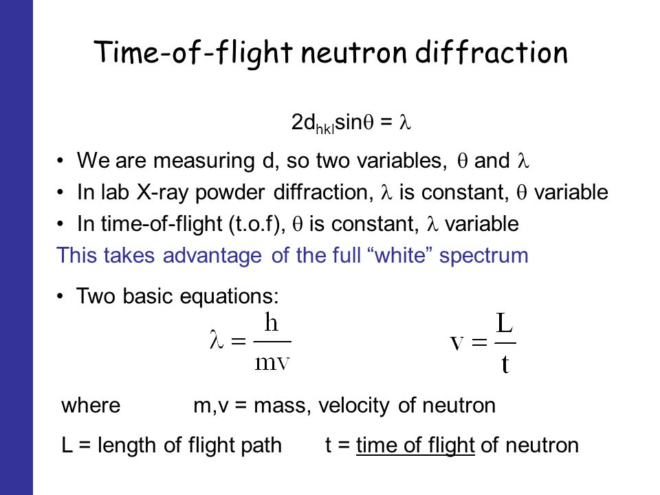 Time-of-flight neutron diffraction 2d hkl sin = where m,v = mass, velocity of neutron L = length of flight patht = time of flight of neutron We are measuring d, so two variables, and In lab X-ray powder diffraction, is constant, variable In time-of-flight (t.o.f), is constant, variable This takes advantage of the full white spectrum Two basic equations: