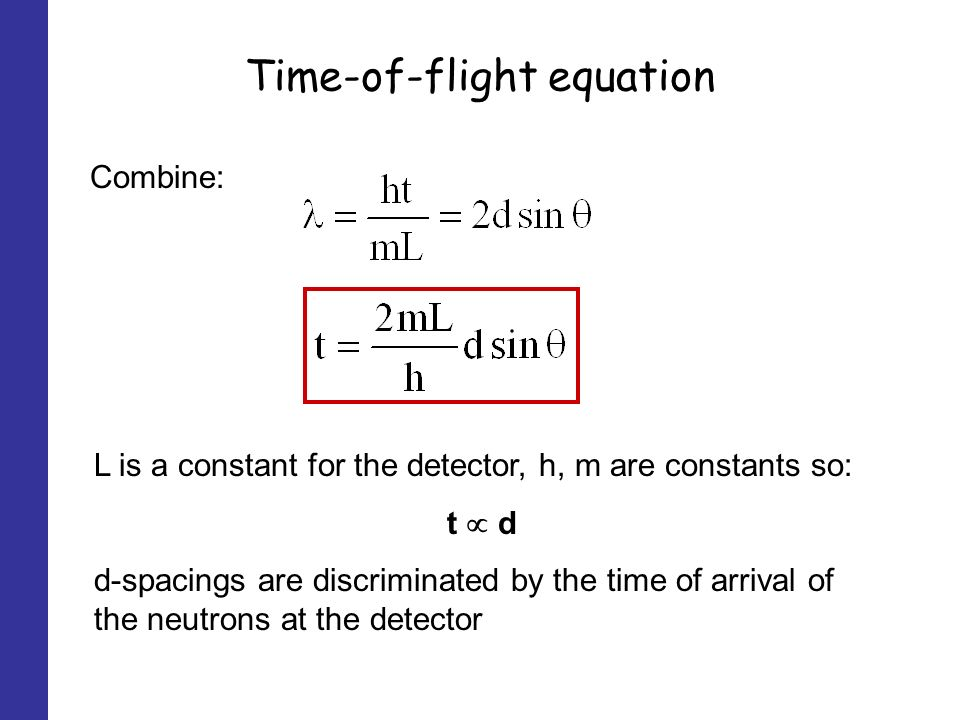 Time-of-flight equation Combine: L is a constant for the detector, h, m are constants so: t d d-spacings are discriminated by the time of arrival of the neutrons at the detector