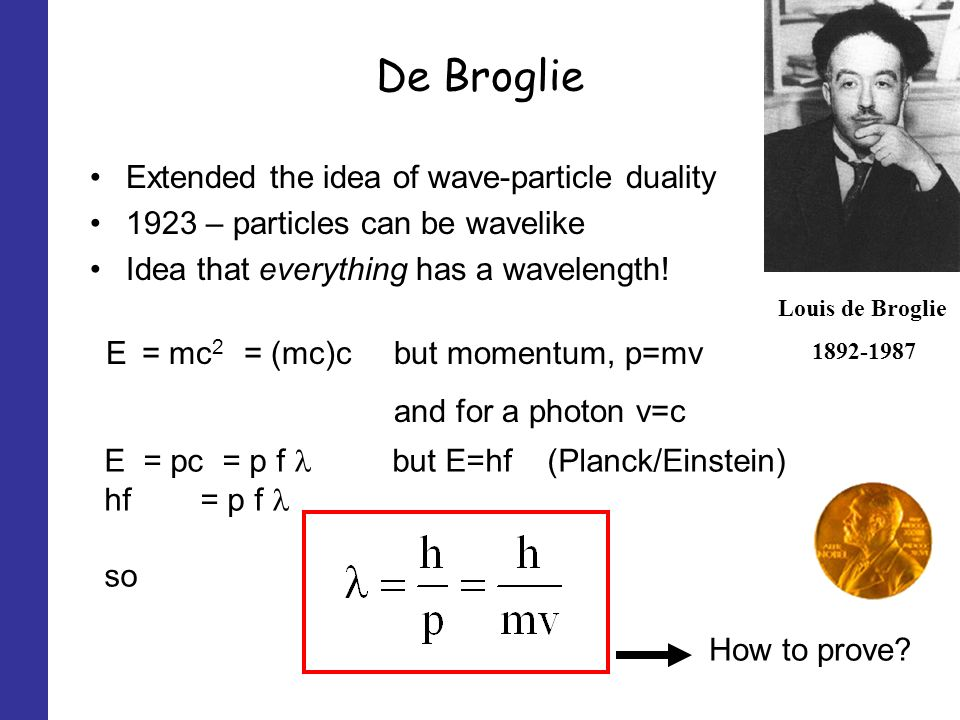 De Broglie Extended the idea of wave-particle duality 1923 – particles can be wavelike Idea that everything has a wavelength.