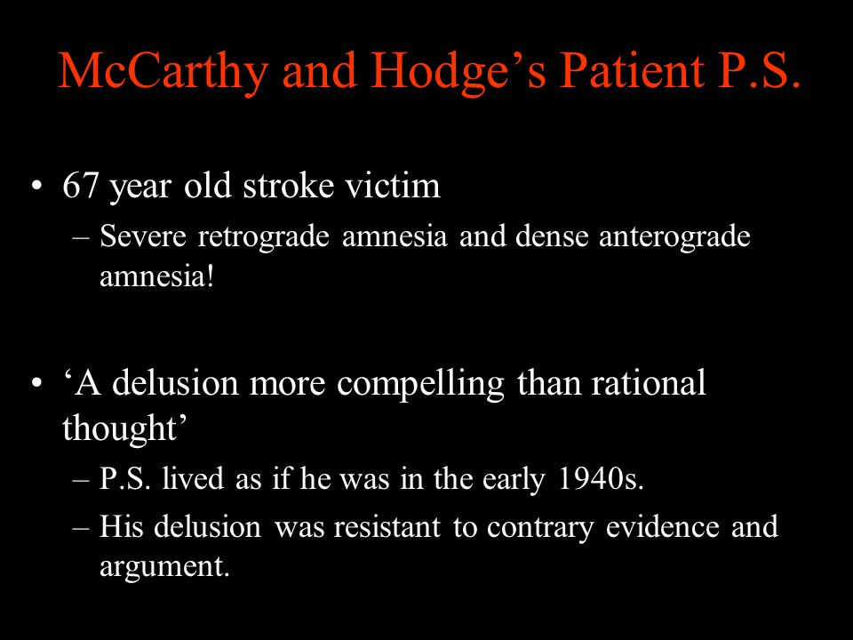 McCarthy and Hodges Patient P.S.