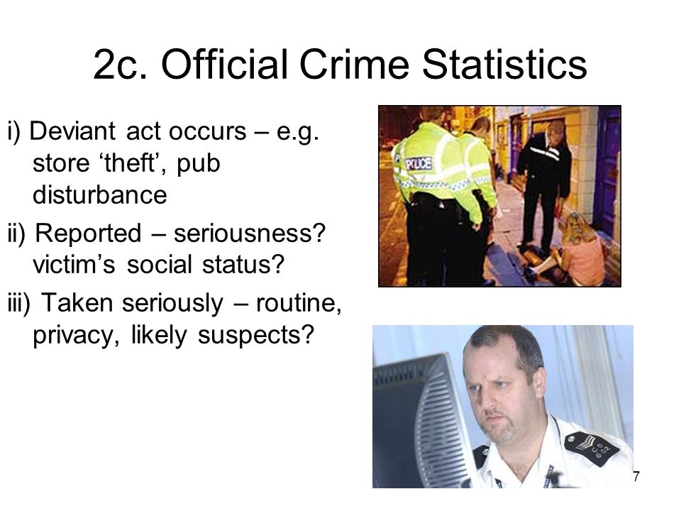 7 2c. Official Crime Statistics i) Deviant act occurs – e.g.