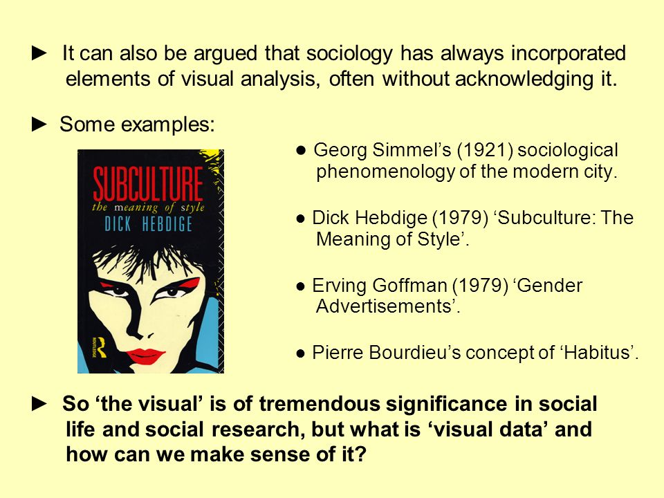 It can also be argued that sociology has always incorporated elements of visual analysis, often without acknowledging it. Some examples: Georg Simmels