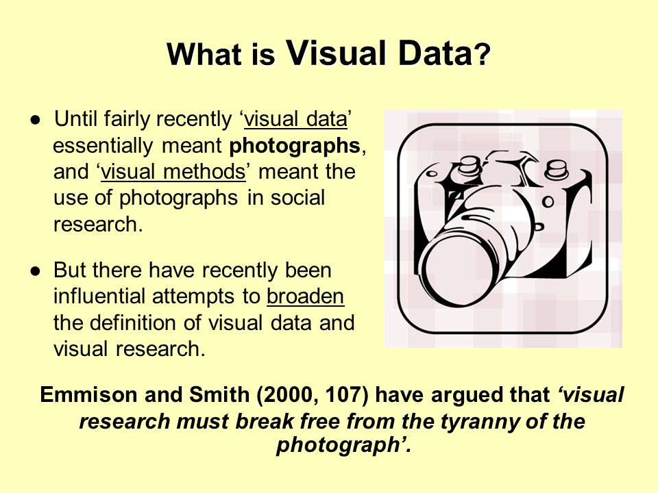 What is Visual Data ? Until fairly recently visual data essentially meant photographs, and visual methods meant the use of photographs in social resea