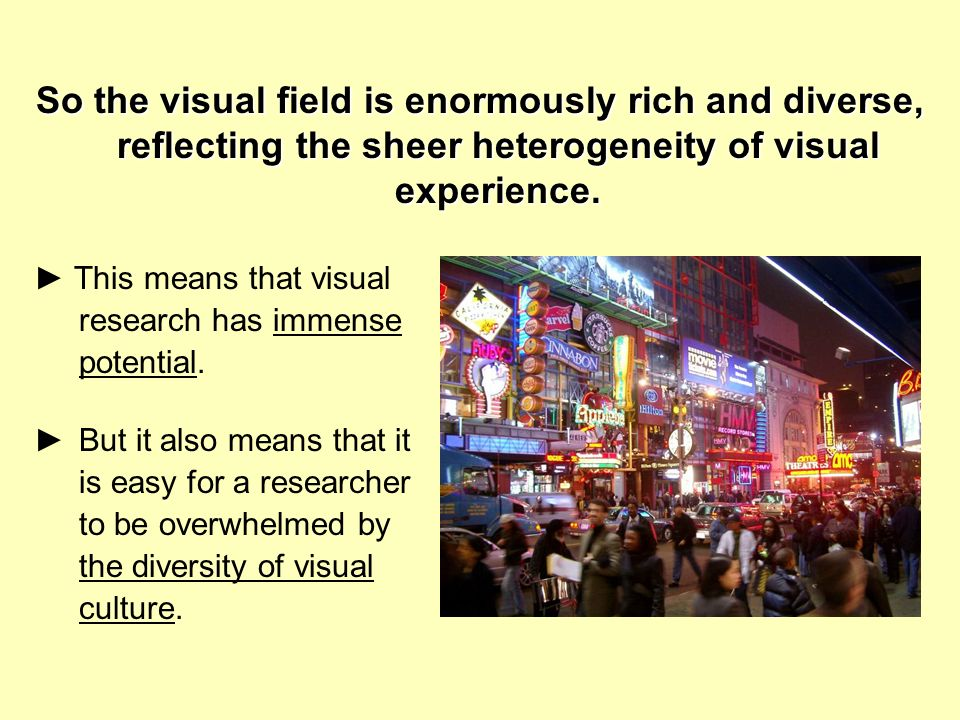 So the visual field is enormously rich and diverse, reflecting the sheer heterogeneity of visual experience. This means that visual research has immen