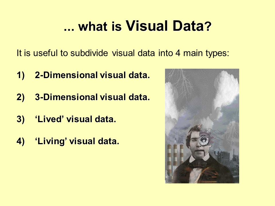 ... what is Visual Data ? It is useful to subdivide visual data into 4 main types: 1) 2-Dimensional visual data. 2) 3-Dimensional visual data. 3) Live