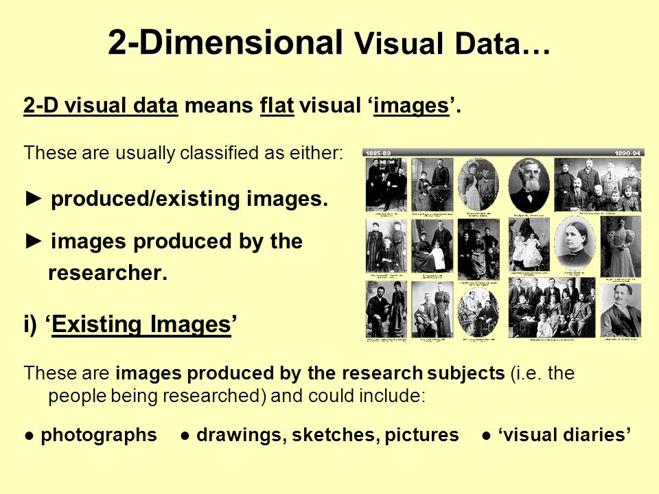 2-Dimensional Visual Data… 2-D visual data means flat visual images. These are usually classified as either: produced/existing images. images produced
