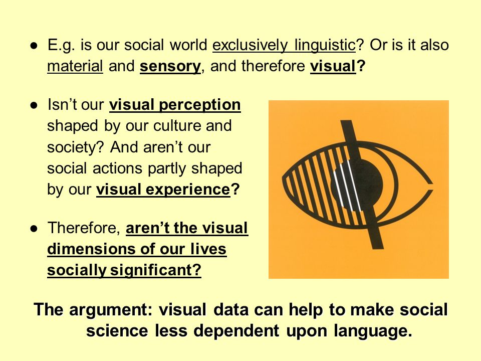 E.g. is our social world exclusively linguistic? Or is it also material and sensory, and therefore visual? Isnt our visual perception shaped by our cu