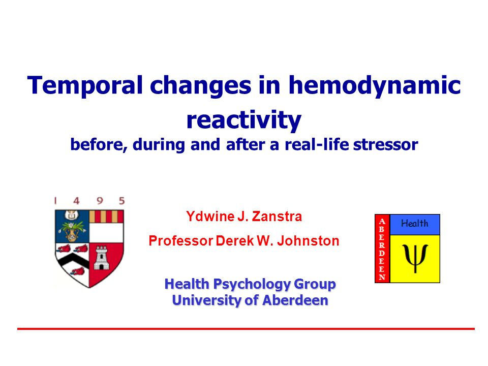 Temporal changes in hemodynamic reactivity before, during and after a real-life stressor Ydwine J.