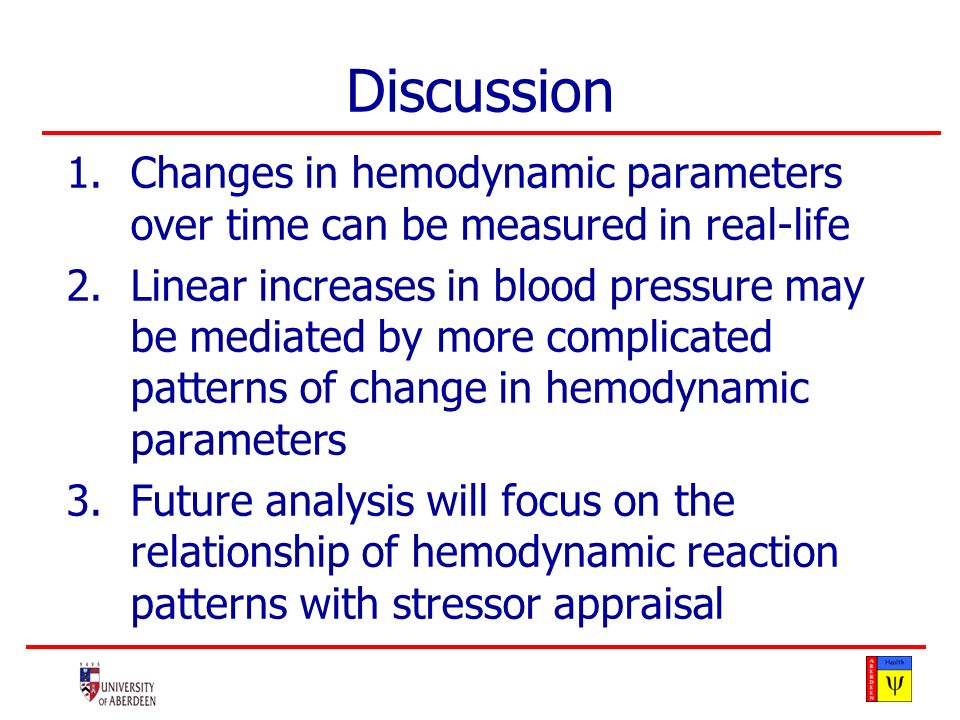 Discussion 1.Changes in hemodynamic parameters over time can be measured in real-life 2.Linear increases in blood pressure may be mediated by more complicated patterns of change in hemodynamic parameters 3.Future analysis will focus on the relationship of hemodynamic reaction patterns with stressor appraisal