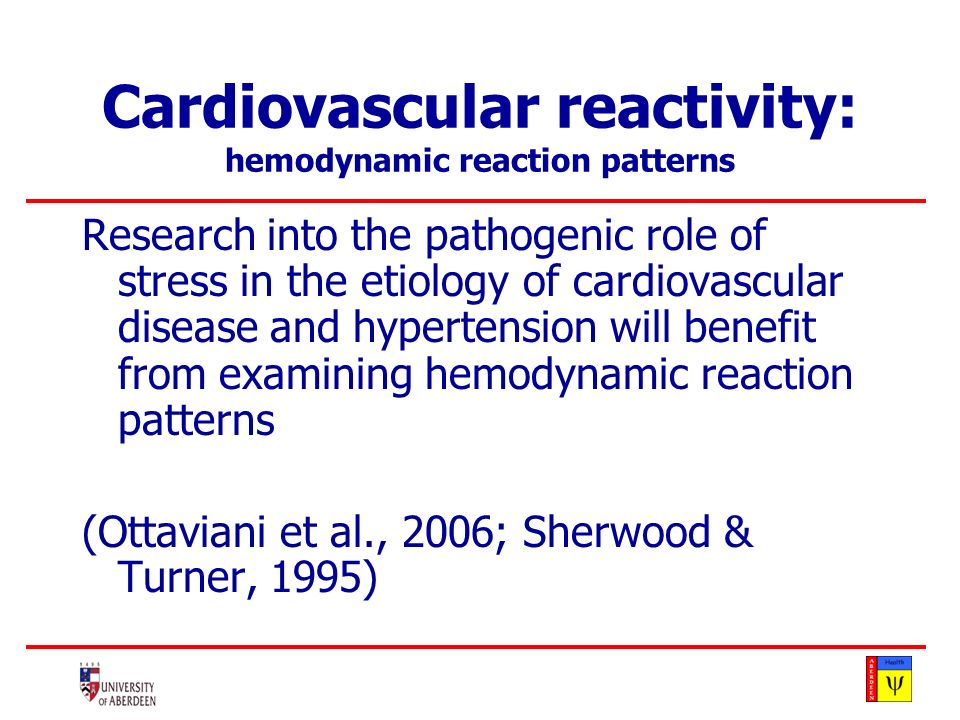 hemodynamic reaction patterns : changes in the parameters underlying blood pressure: Cardiovascular reactivity: hemodynamic reaction patterns Blood Pressure = Cardiac Output *Total Peripheral Resistance
