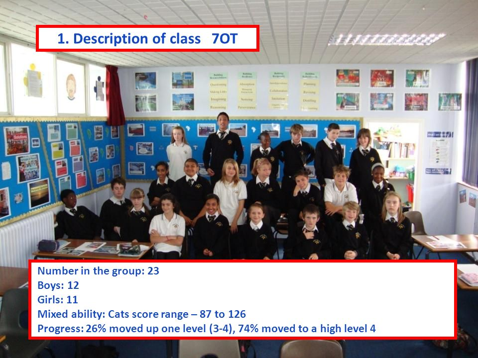 7SK School of the Air Making Geography Happen Number in the group: 23 Boys: 11 Girls: 12 Mixed ability Cats score range – 75 to 124 Progress: 9% moved from NC Level 2 to 3, 30% hit a high level 3, 57% achieved secure/high level 4