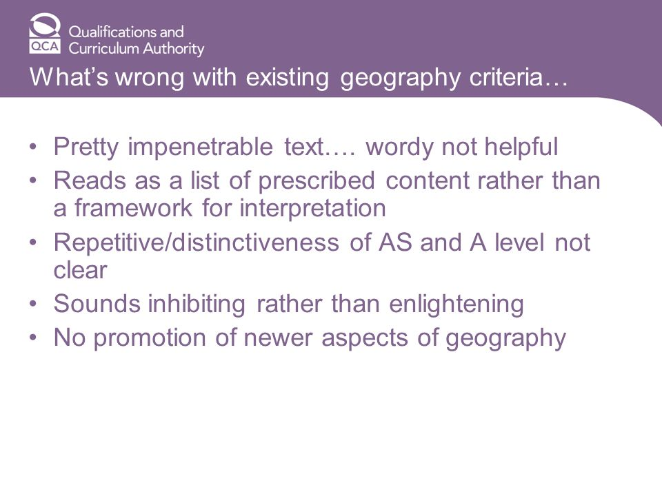 Whats wrong with existing geography criteria… Pretty impenetrable text….