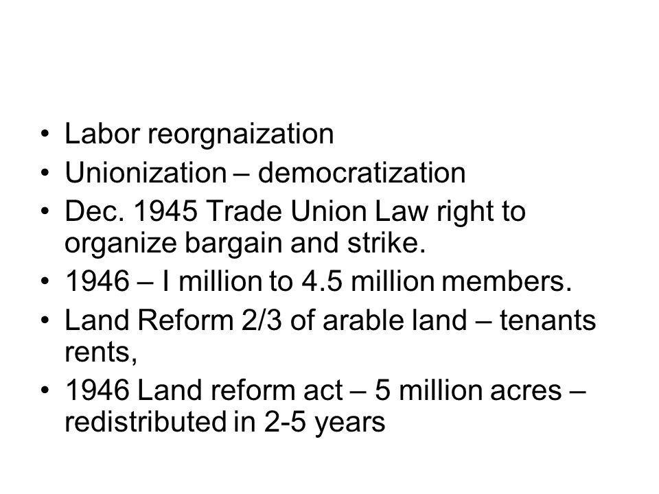 Labor reorgnaization Unionization – democratization Dec.