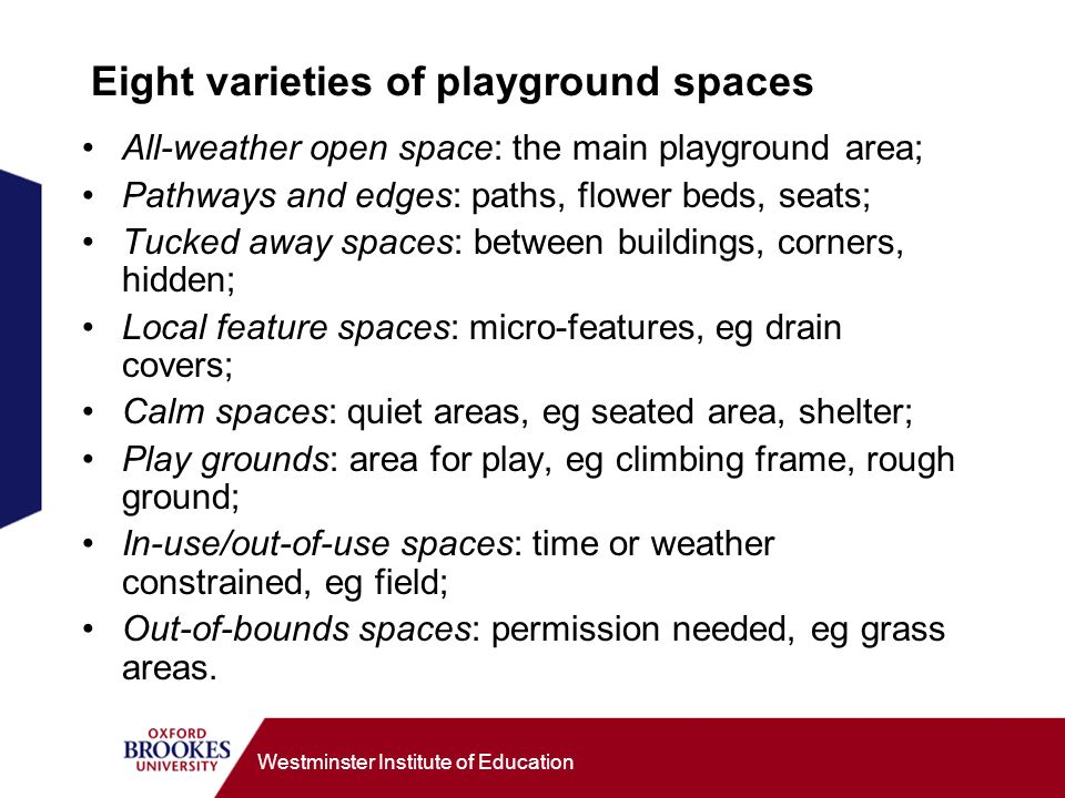Westminster Institute of Education Eight varieties of playground spaces All-weather open space: the main playground area; Pathways and edges: paths, flower beds, seats; Tucked away spaces: between buildings, corners, hidden; Local feature spaces: micro-features, eg drain covers; Calm spaces: quiet areas, eg seated area, shelter; Play grounds: area for play, eg climbing frame, rough ground; In-use/out-of-use spaces: time or weather constrained, eg field; Out-of-bounds spaces: permission needed, eg grass areas.