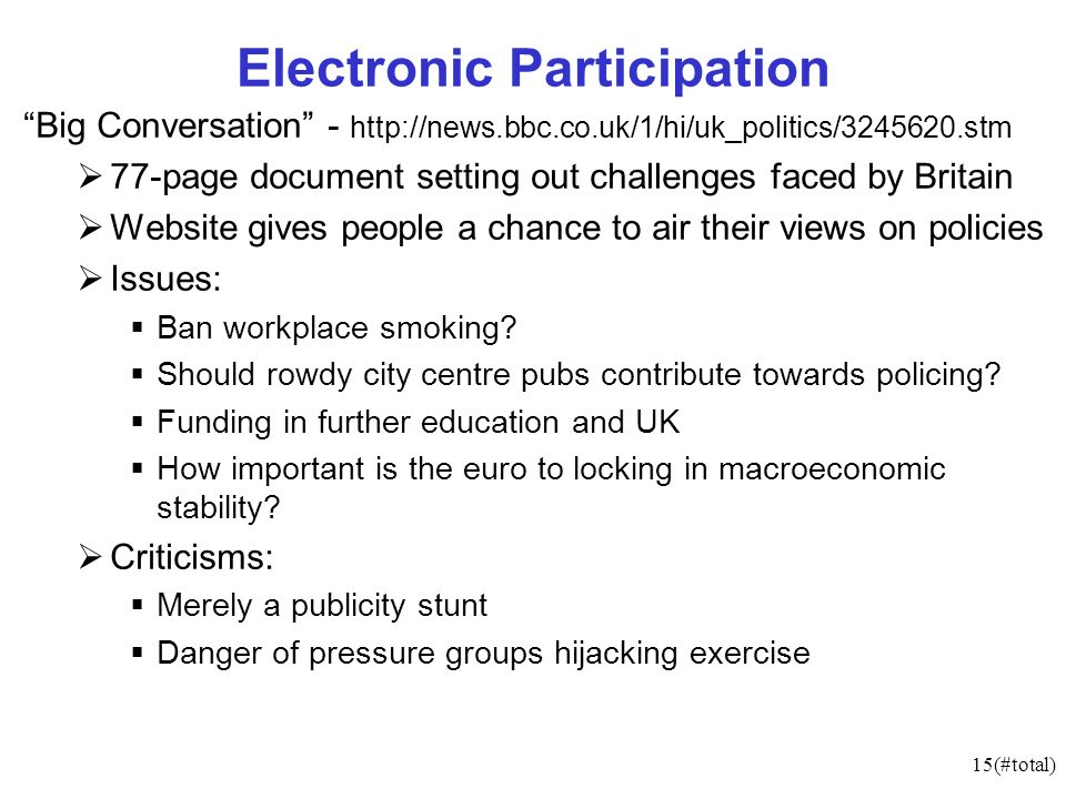 15(#total) Electronic Participation Big Conversation page document setting out challenges faced by Britain Website gives people a chance to air their views on policies Issues: Ban workplace smoking.