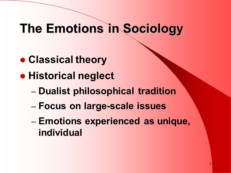 3 The Emotions in Sociology Classical theory Historical neglect – Dualist philosophical tradition – Focus on large-scale issues – Emotions experienced