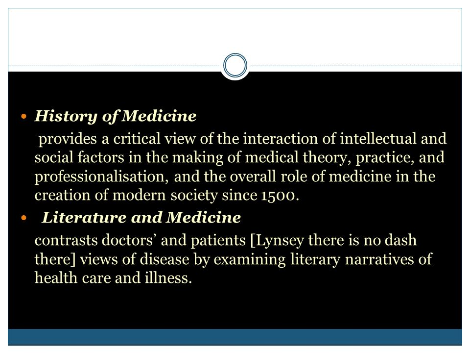 History of Medicine provides a critical view of the interaction of intellectual and social factors in the making of medical theory, practice, and prof