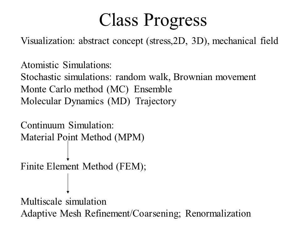Class Progress Visualization: abstract concept (stress,2D, 3D), mechanical field Atomistic Simulations: Stochastic simulations: random walk, Brownian movement Monte Carlo method (MC) Ensemble Molecular Dynamics (MD) Trajectory Continuum Simulation: Material Point Method (MPM) Multiscale simulation Adaptive Mesh Refinement/Coarsening; Renormalization Finite Element Method (FEM);