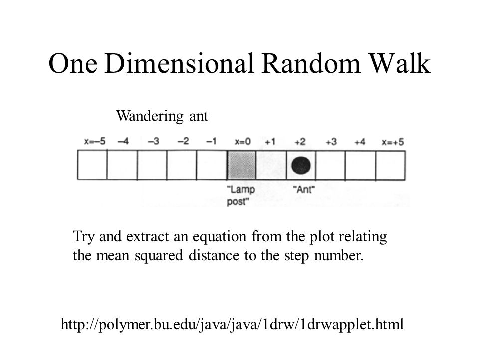 One Dimensional Random Walk   Wandering ant Try and extract an equation from the plot relating the mean squared distance to the step number.