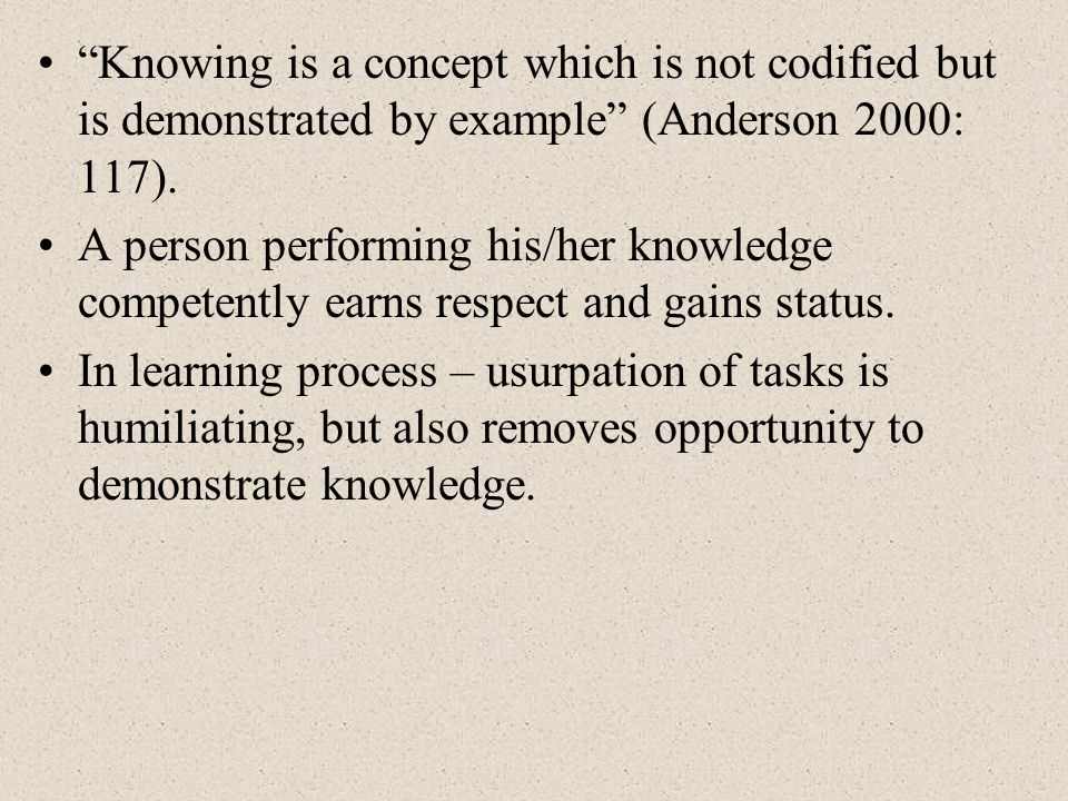 Knowing is a concept which is not codified but is demonstrated by example (Anderson 2000: 117). A person performing his/her knowledge competently earn