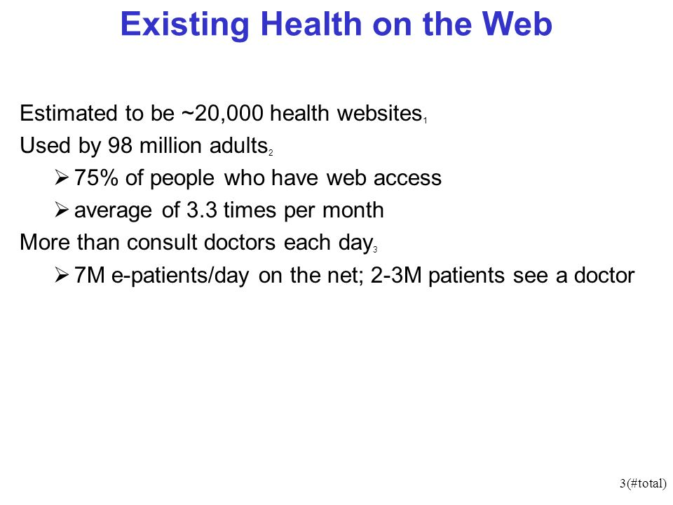 34(#total) Summary The Future of Healthcare - The banking metaphor Existing Health on the Web eHealth - terminology Transmural Care Electronic Medical Records (EMR) Medical Records - Access Clinical Decision Support Systems Telemedicine - Case Studies eHealth Standards eHealth / eScience : Cancer Diagnosis Benefits of eHealth Medical Errors Why is eHealth Adopted Slowly.