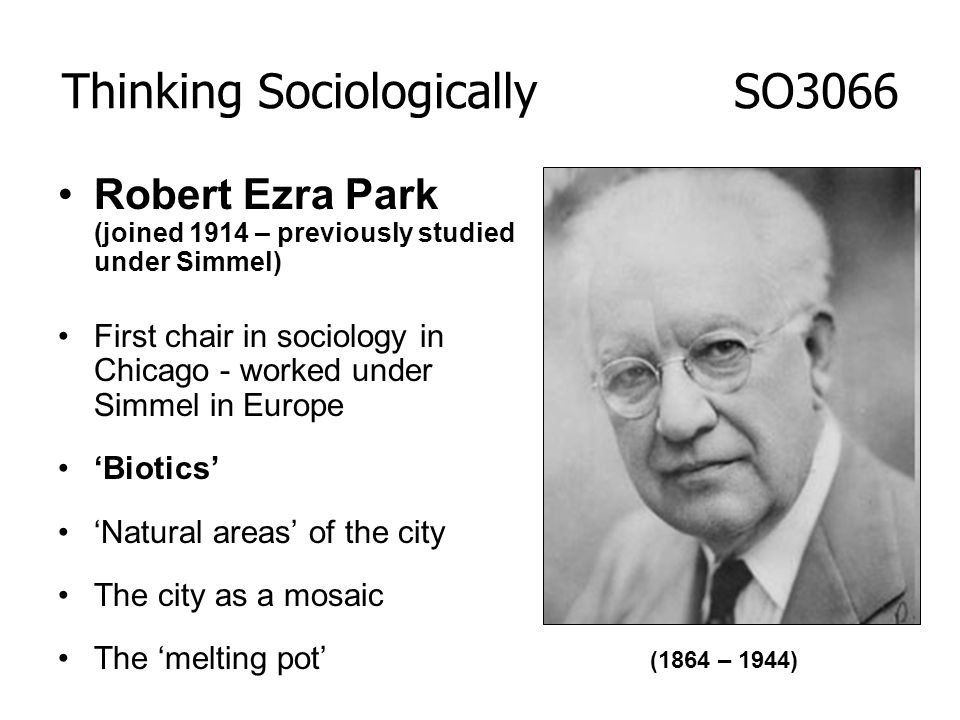 Robert Ezra Park (joined 1914 – previously studied under Simmel) First chair in sociology in Chicago - worked under Simmel in Europe Biotics Natural a