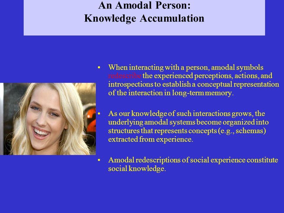 An Amodal Person: Knowledge Accumulation When interacting with a person, amodal symbols redescribe the experienced perceptions, actions, and introspec