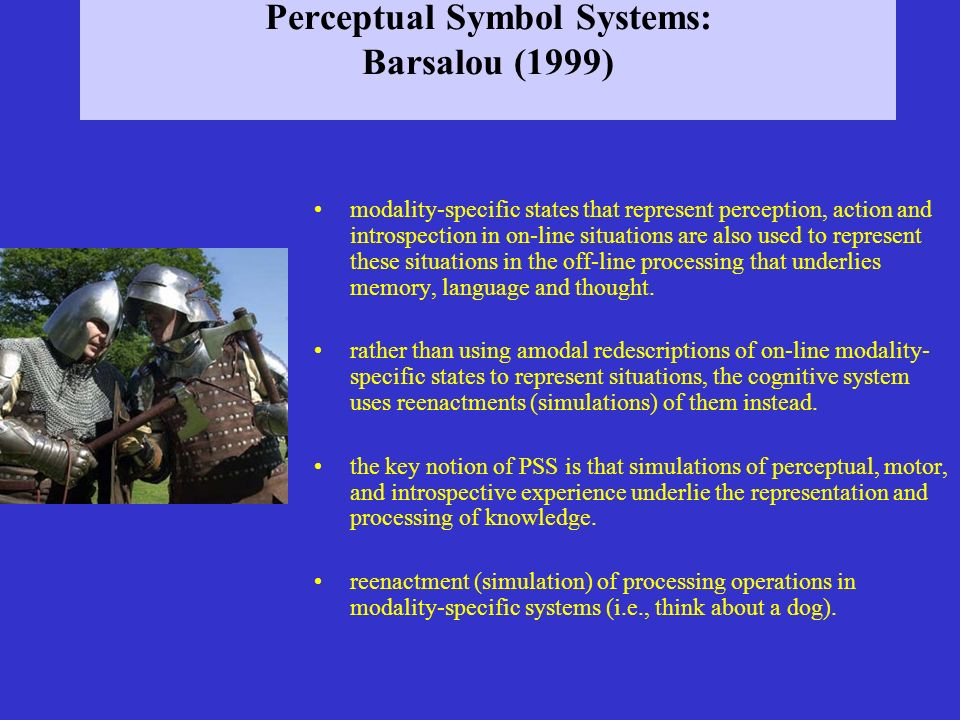 Perceptual Symbol Systems: Barsalou (1999) modality-specific states that represent perception, action and introspection in on-line situations are also