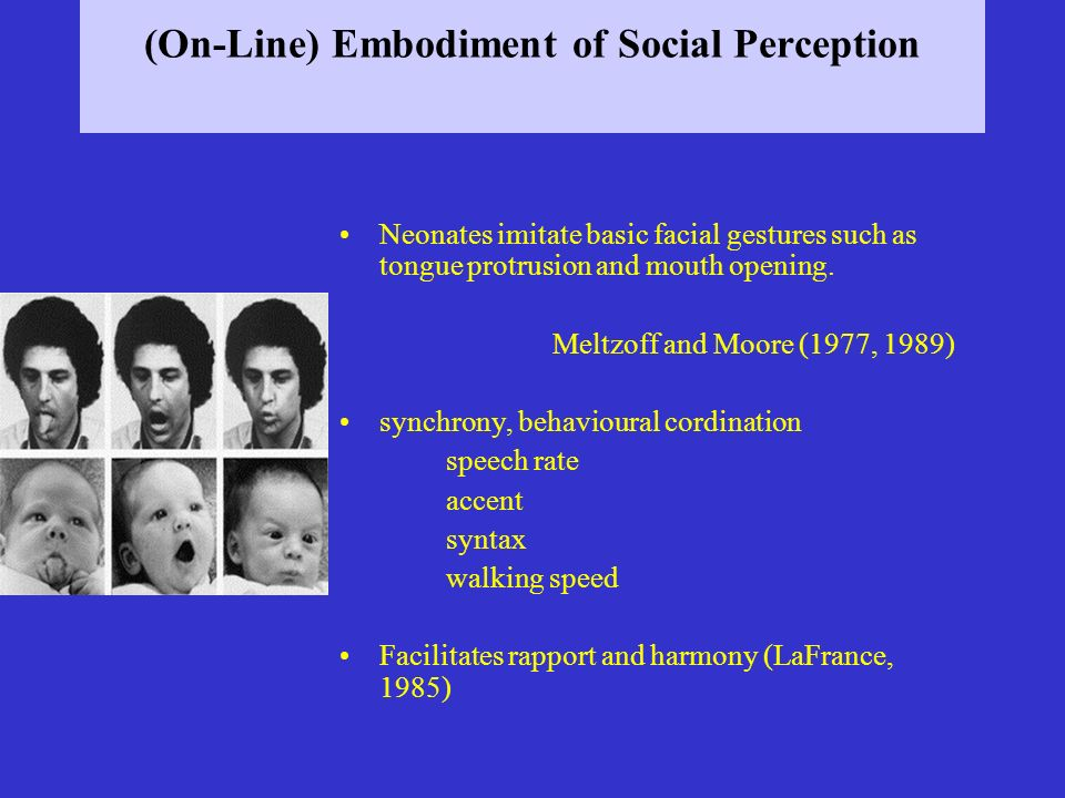 (On-Line) Embodiment of Social Perception Neonates imitate basic facial gestures such as tongue protrusion and mouth opening. Meltzoff and Moore (1977