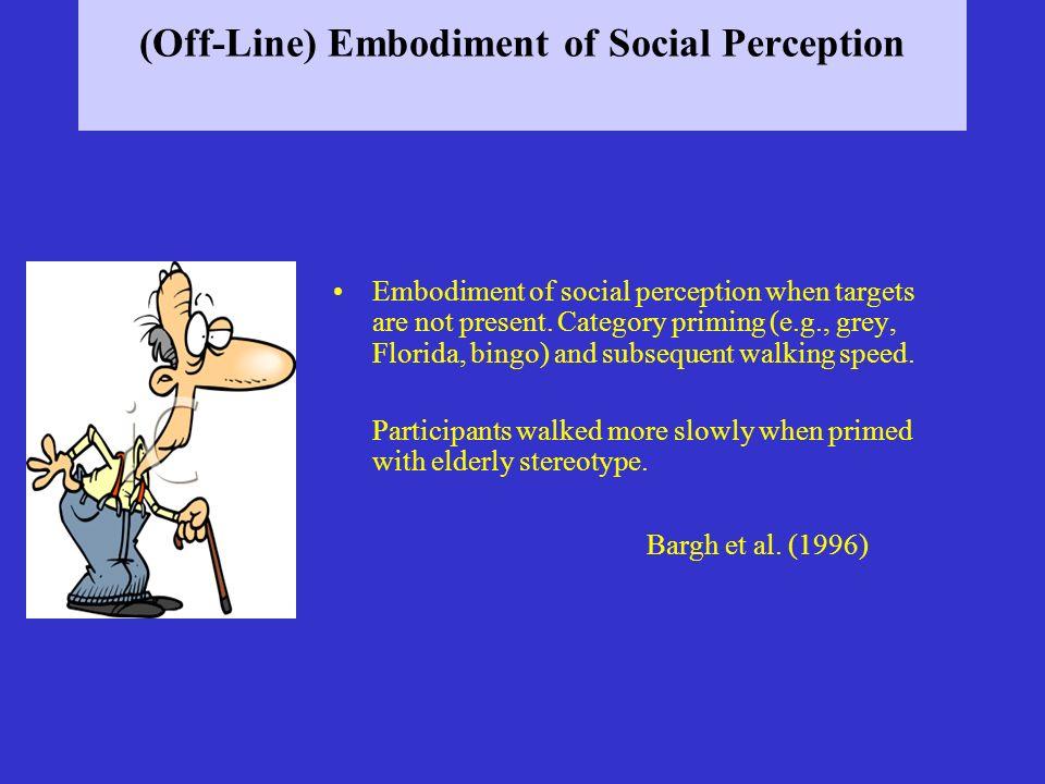 (Off-Line) Embodiment of Social Perception Embodiment of social perception when targets are not present. Category priming (e.g., grey, Florida, bingo)