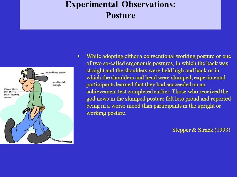 Experimental Observations: Posture While adopting either a conventional working posture or one of two so-called ergonomic postures, in which the back
