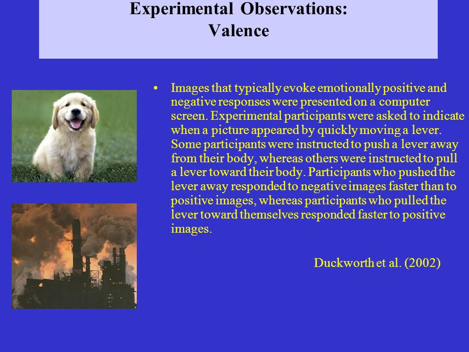 Experimental Observations: Valence Images that typically evoke emotionally positive and negative responses were presented on a computer screen. Experi