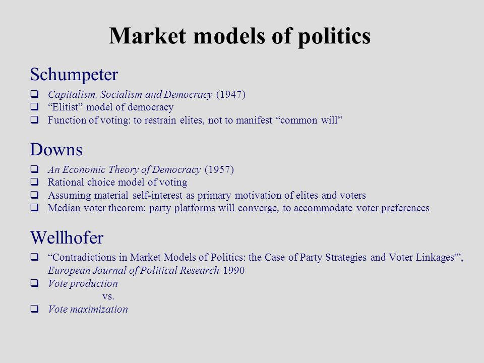 Market models of politics Schumpeter Capitalism, Socialism and Democracy (1947) Elitist model of democracy Function of voting: to restrain elites, not to manifest common will Downs An Economic Theory of Democracy (1957) Rational choice model of voting Assuming material self-interest as primary motivation of elites and voters Median voter theorem: party platforms will converge, to accommodate voter preferences Wellhofer Contradictions in Market Models of Politics: the Case of Party Strategies and Voter Linkages , European Journal of Political Research 1990 Vote production vs.