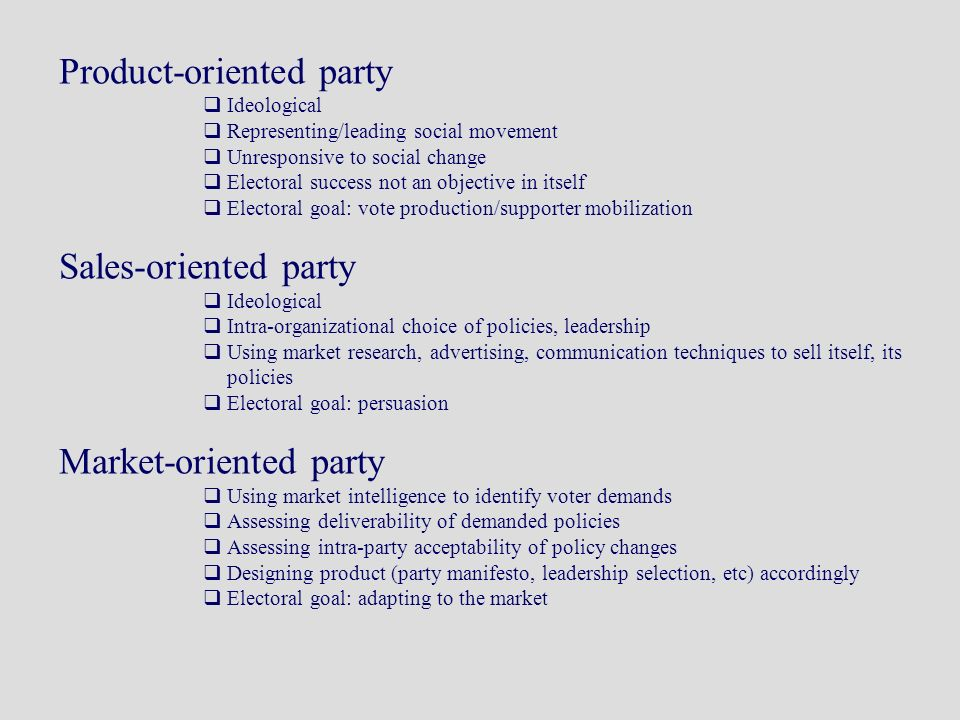 Product-oriented party Ideological Representing/leading social movement Unresponsive to social change Electoral success not an objective in itself Electoral goal: vote production/supporter mobilization Sales-oriented party Ideological Intra-organizational choice of policies, leadership Using market research, advertising, communication techniques to sell itself, its policies Electoral goal: persuasion Market-oriented party Using market intelligence to identify voter demands Assessing deliverability of demanded policies Assessing intra-party acceptability of policy changes Designing product (party manifesto, leadership selection, etc) accordingly Electoral goal: adapting to the market