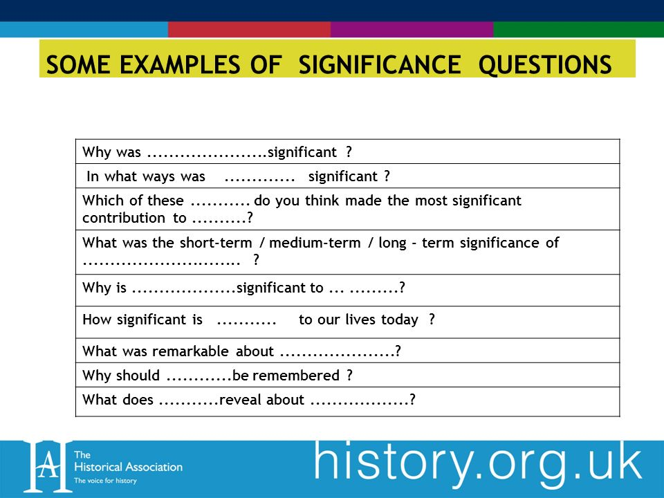 SOME EXAMPLES OF SIGNIFICANCE QUESTIONS Why was......................significant .