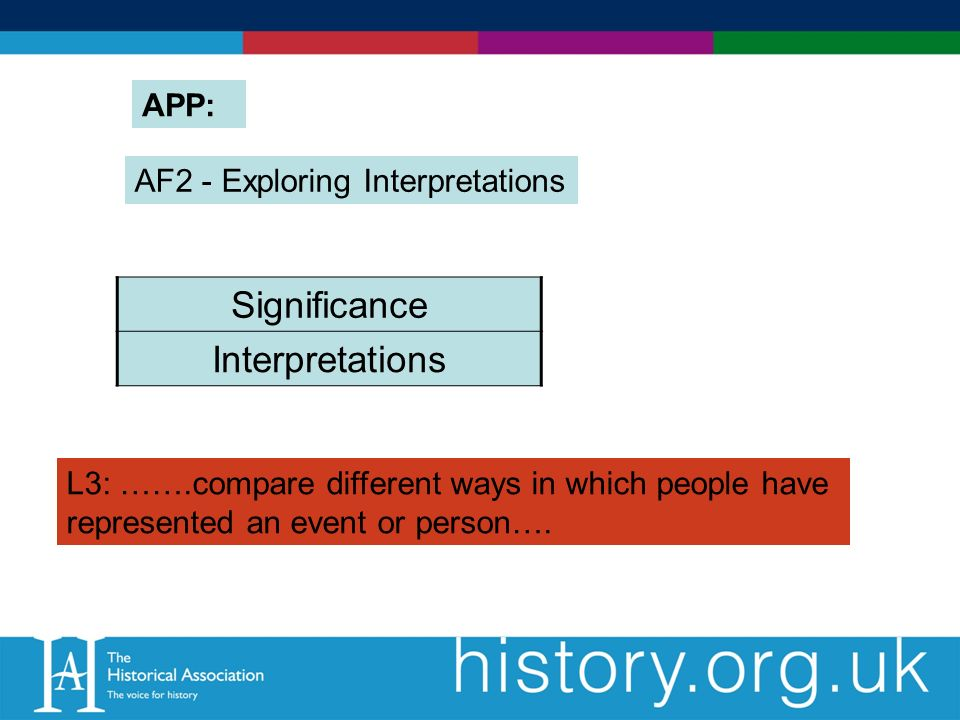 AF2 - Exploring Interpretations Significance Interpretations APP: L3: …….compare different ways in which people have represented an event or person….