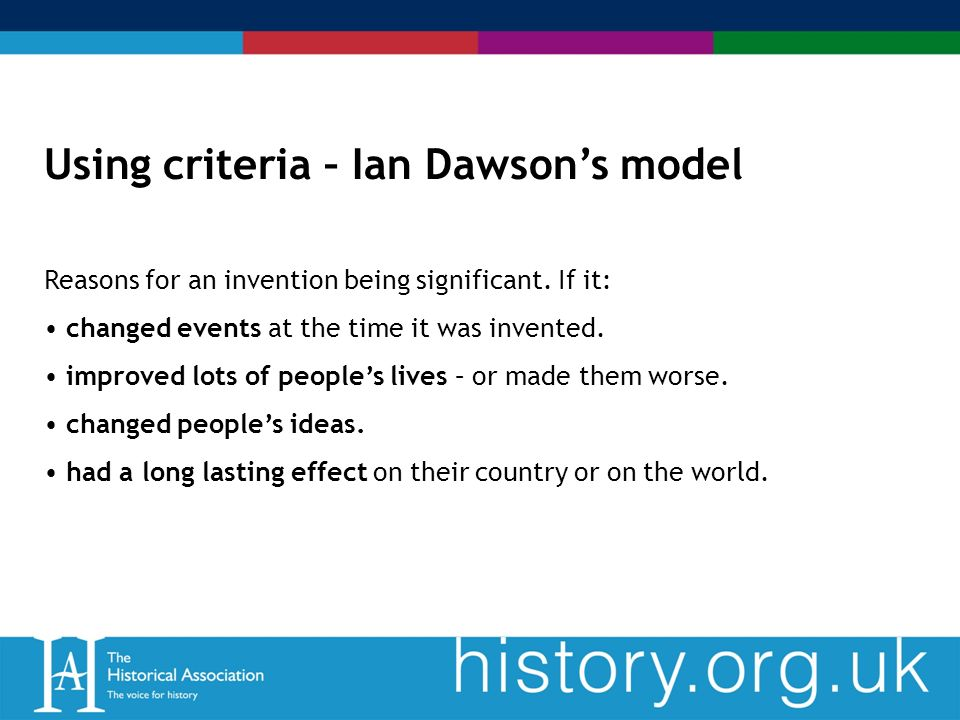 Using criteria – Ian Dawsons model Reasons for an invention being significant.