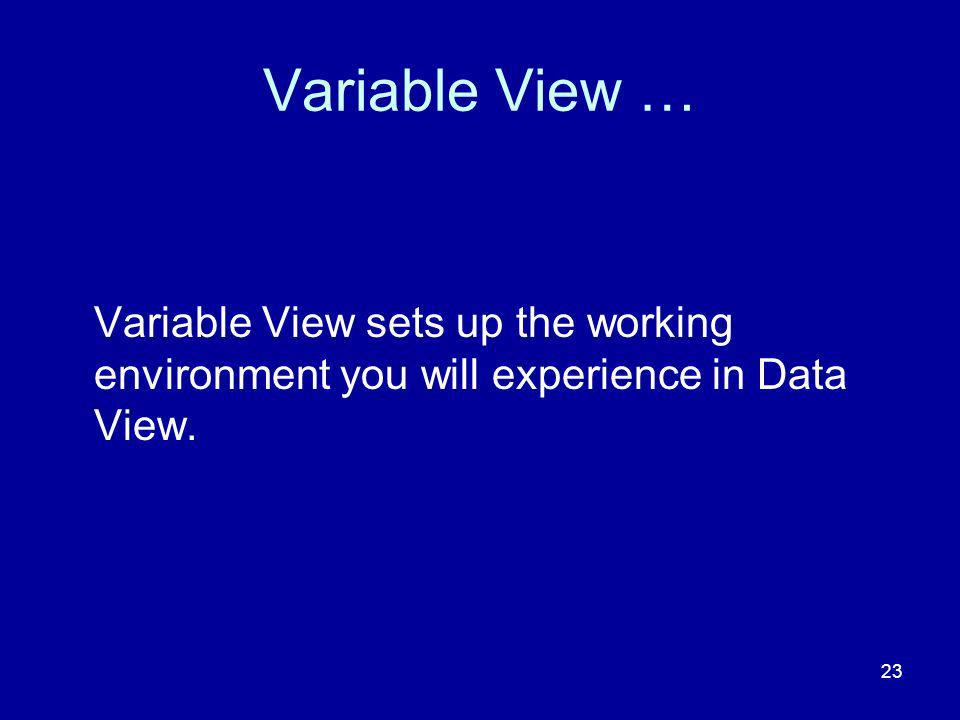 23 Variable View … Variable View sets up the working environment you will experience in Data View.