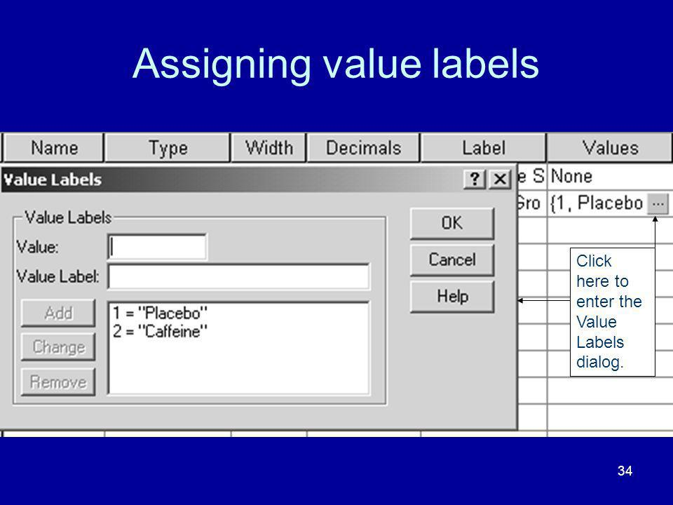 34 Assigning value labels Click here to enter the Value Labels dialog.