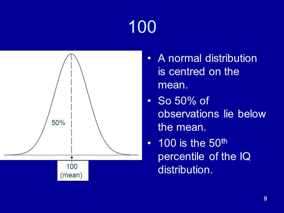 9 100 A normal distribution is centred on the mean. So 50% of observations lie below the mean. 100 is the 50 th percentile of the IQ distribution. 100