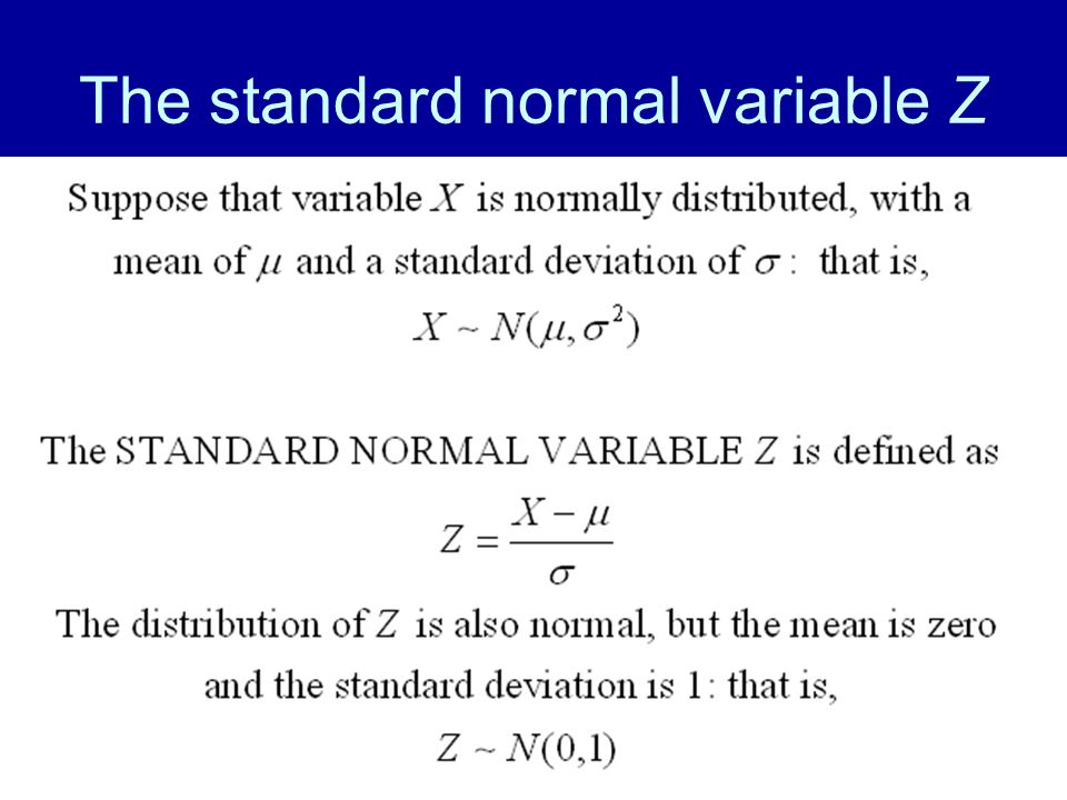 26 The standard normal variable Z