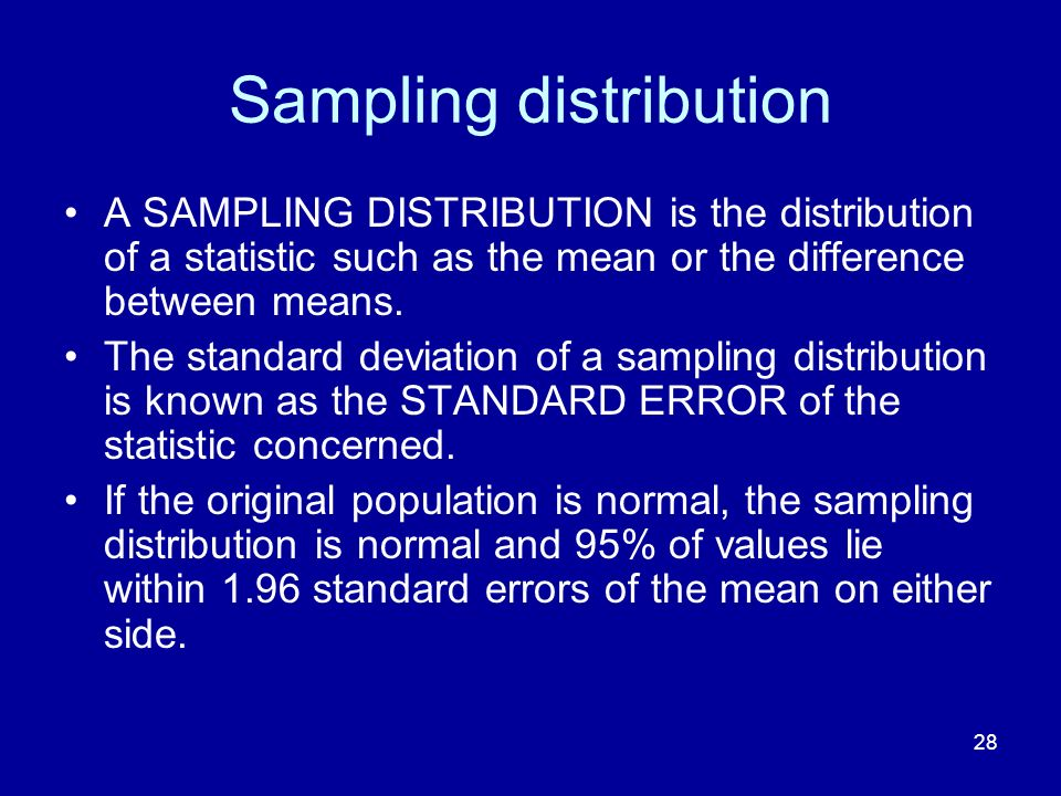 28 Sampling distribution A SAMPLING DISTRIBUTION is the distribution of a statistic such as the mean or the difference between means. The standard dev