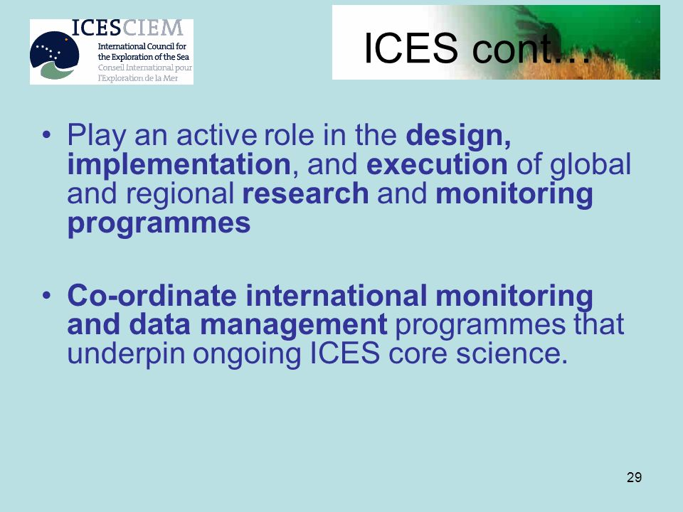 29 ICES cont… Play an active role in the design, implementation, and execution of global and regional research and monitoring programmes Co-ordinate i