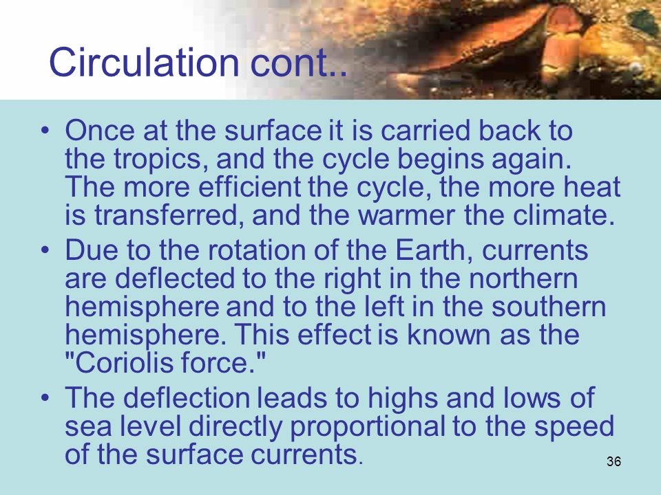 36 Circulation cont.. Once at the surface it is carried back to the tropics, and the cycle begins again. The more efficient the cycle, the more heat i