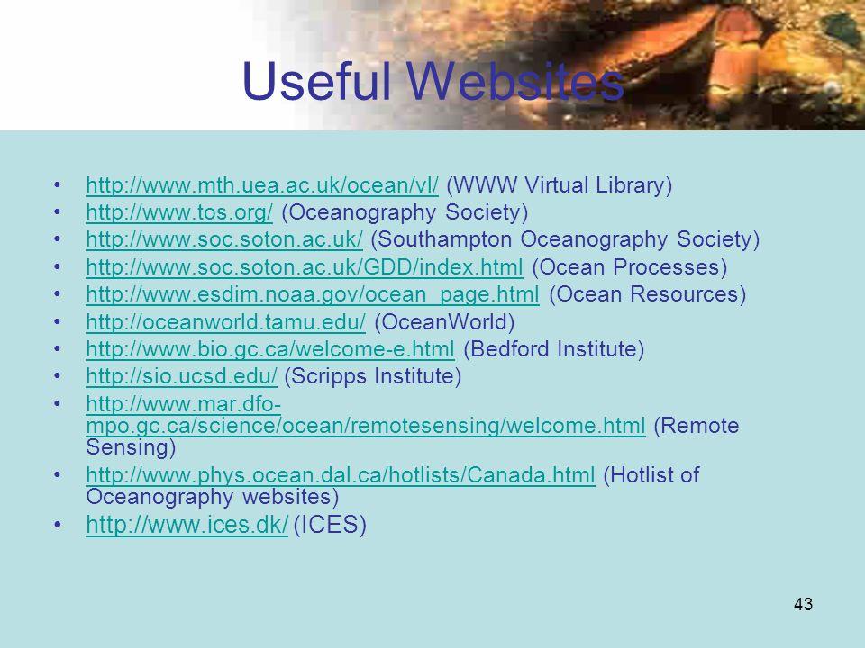 43 Useful Websites http://www.mth.uea.ac.uk/ocean/vl/ (WWW Virtual Library)http://www.mth.uea.ac.uk/ocean/vl/ http://www.tos.org/ (Oceanography Societ