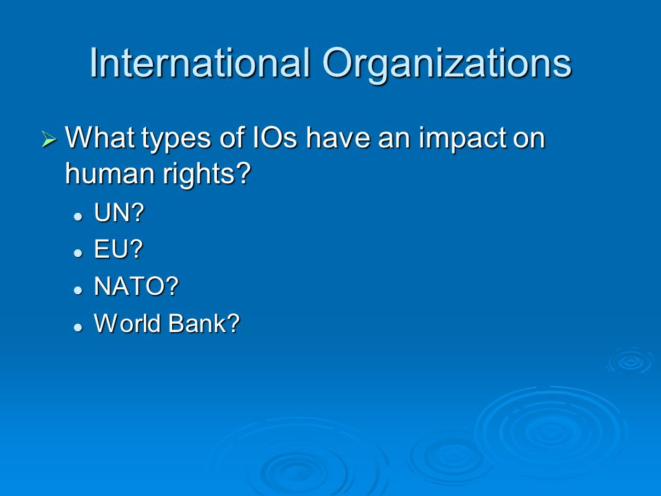International Organizations What types of IOs have an impact on human rights.
