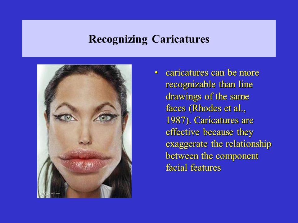 Recognizing Caricatures caricatures can be more recognizable than line drawings of the same faces (Rhodes et al., 1987).